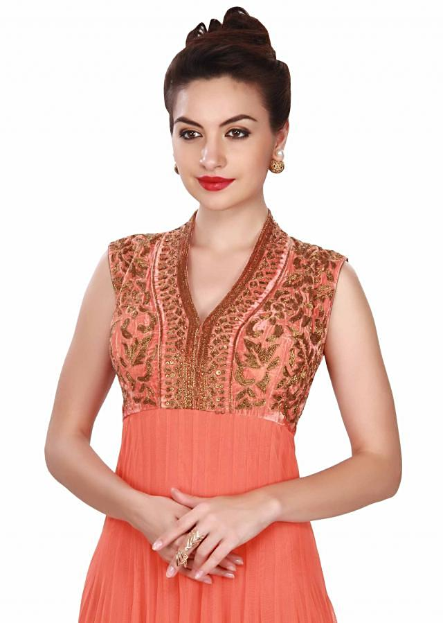 Orange anarkali suit in embroidered yoke only on Kalki