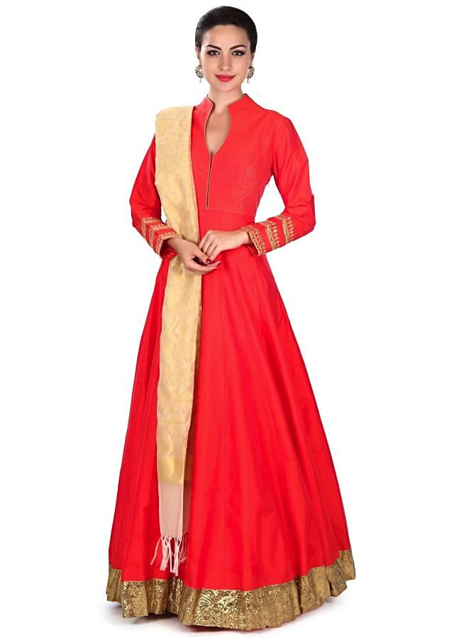 Orange anarkali suit with crushed lurex border only on Kalki