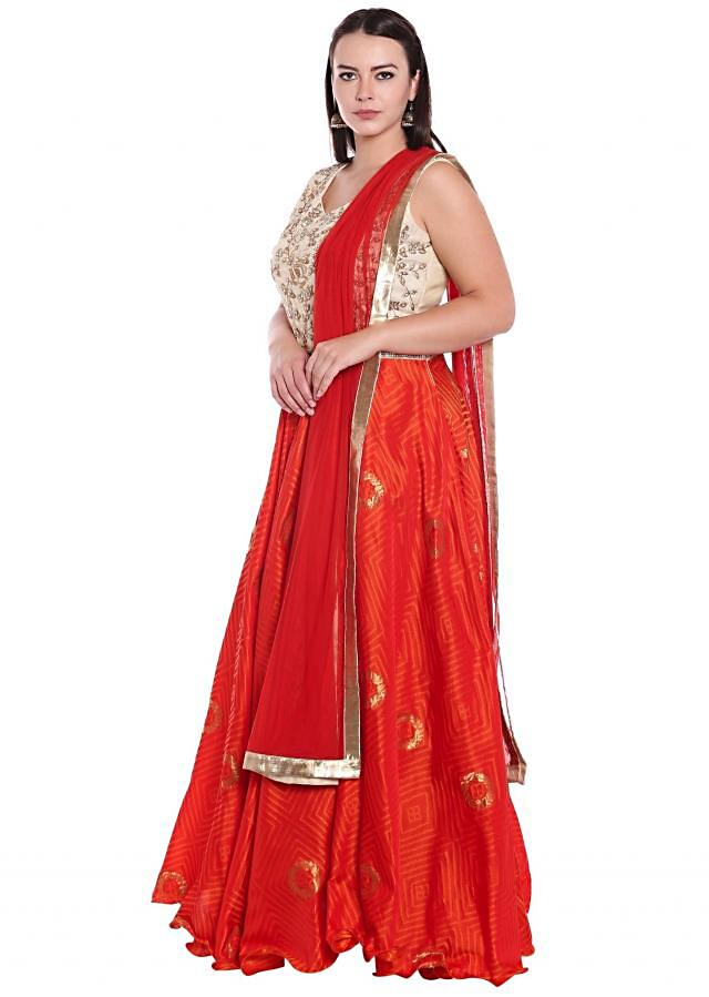 Orange and cream anarkali suit in print and embroidered bodice only on Kalki