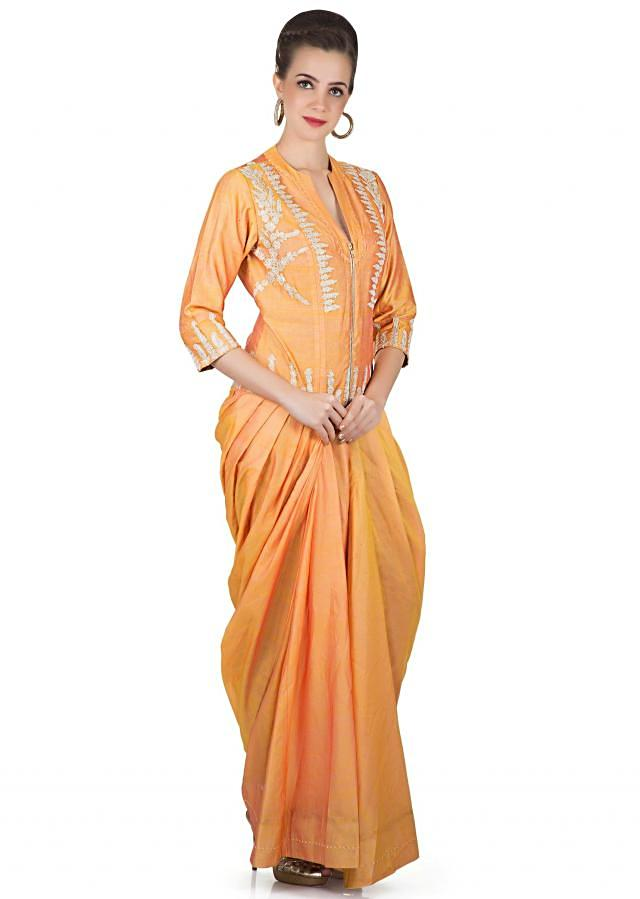 Orange And Mustard Gown In Silk Crafted With Embroidered Motifs Online - Kalki Fashion