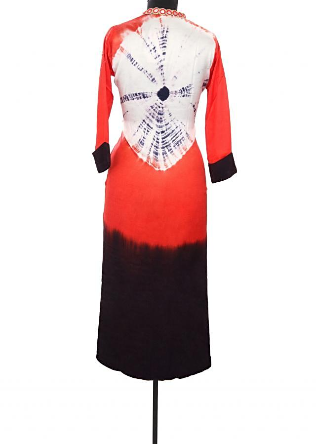 Orange and navy blue kurti with mirror embellished placket only on Kalki