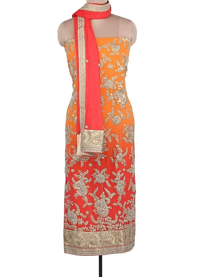 Orange And Pink Unstitched Suit Adorn In Zari And Pearl Embroidery Only On Kalki