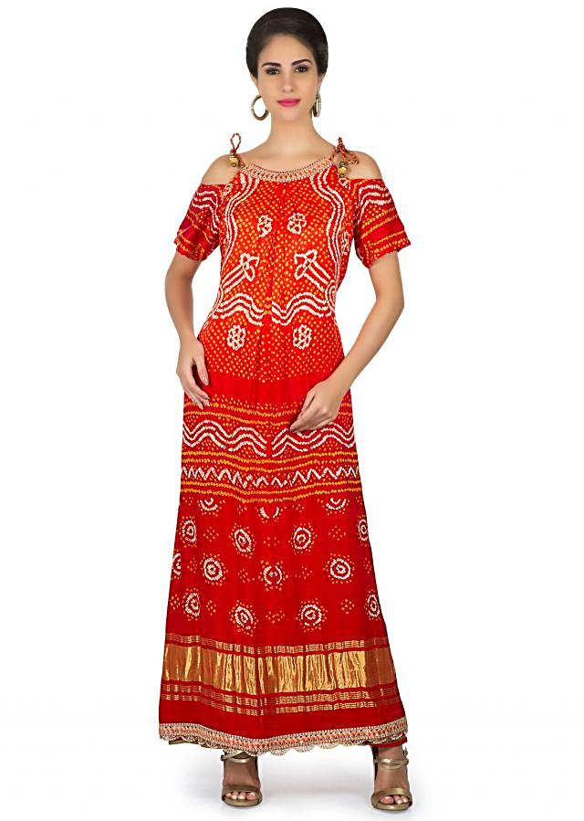 Orange and red bandhani printed dress with cold shoulder only on Kalki