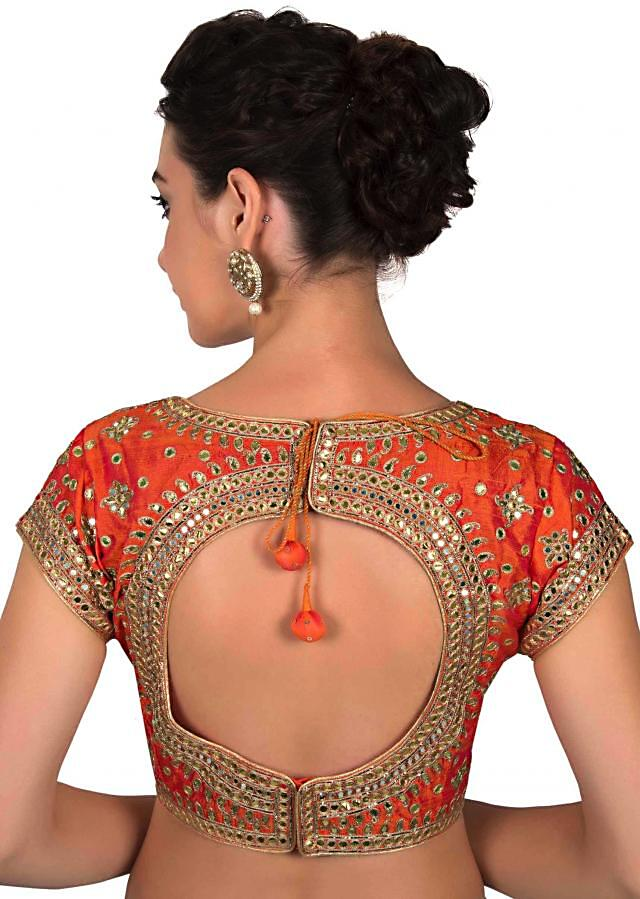 Orange blouse in gotta patch embroidered blouse only on Kalki