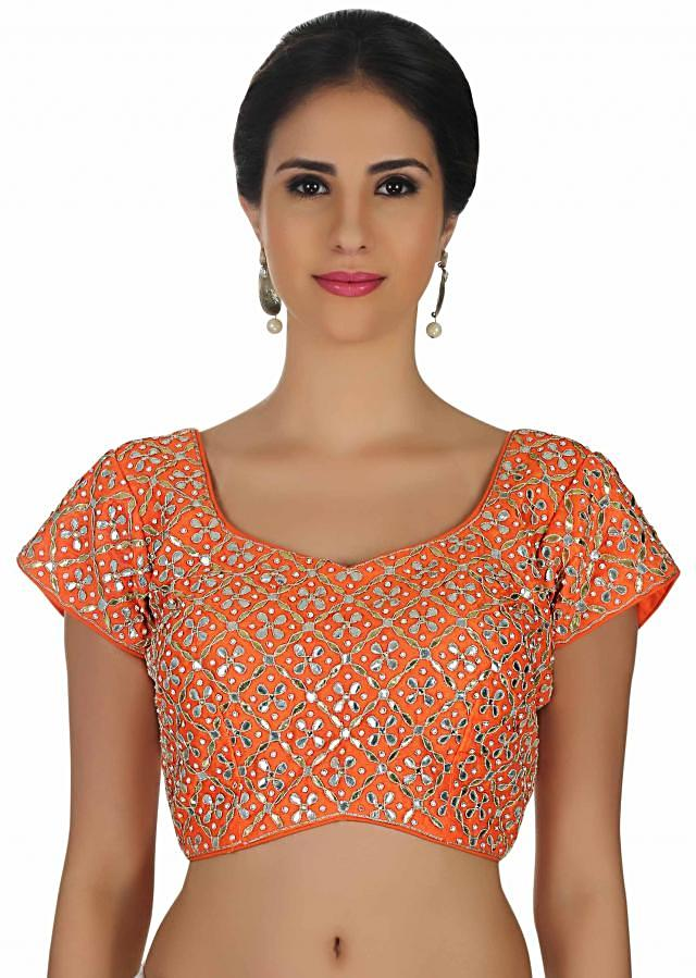 Orange blouse in raw silk with gotta patti embroidery only on Kalki