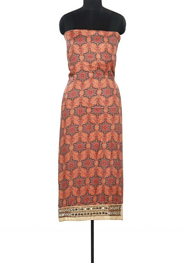 Orange color unstitched suit adorn in mirror and print only on Kalki