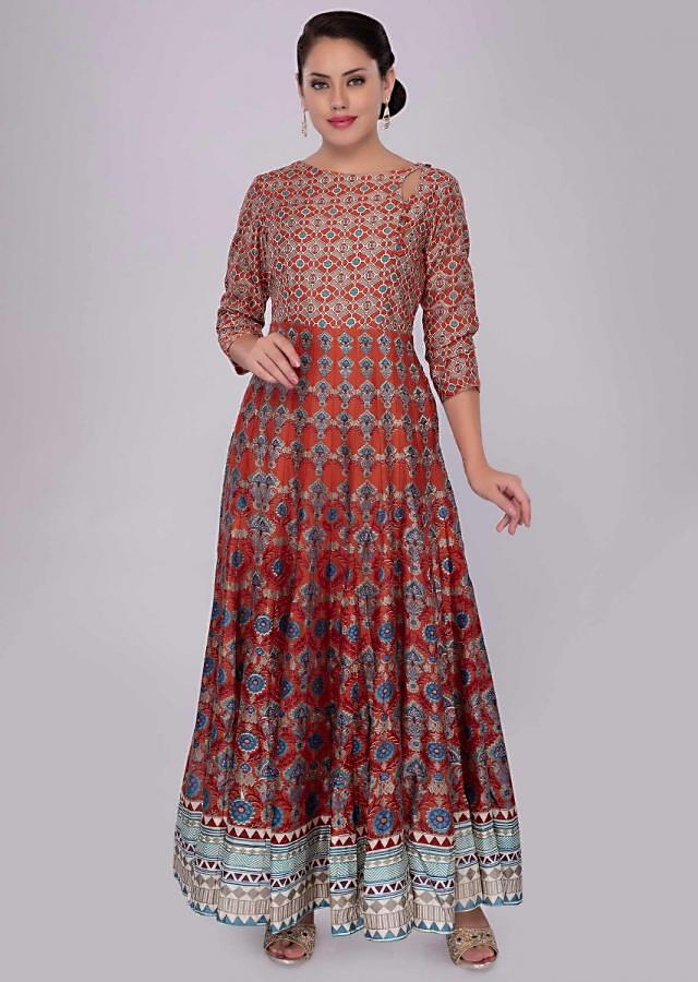 Orange cotton tunic dress in floral and geometric print only on kalki