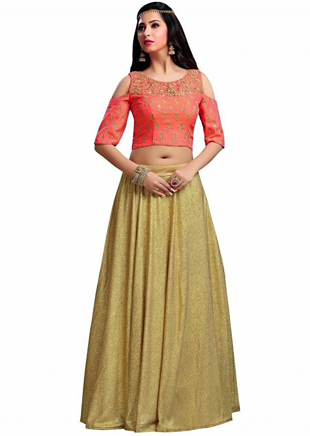 Orange crop top blouse with gold shimmer skirt only on Kalki