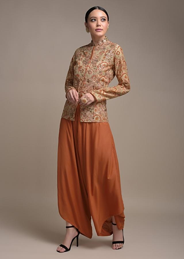 Orange Dhoti Suit In Cotton Paired With A Short Beige Kurti Having Scallop Print Online - Kalki Fashion
