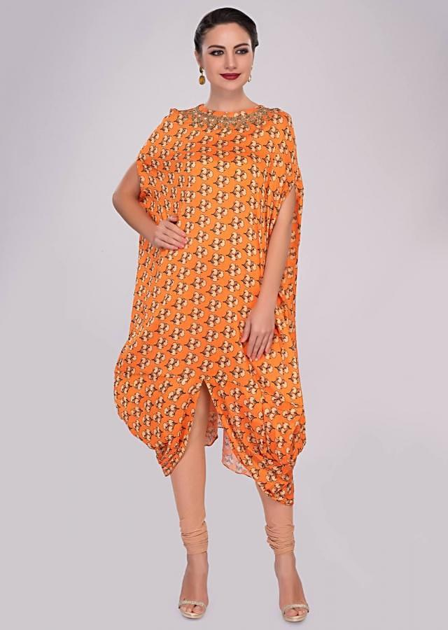 Orange fancy cotton tunic with floral printed butti only on Kalki