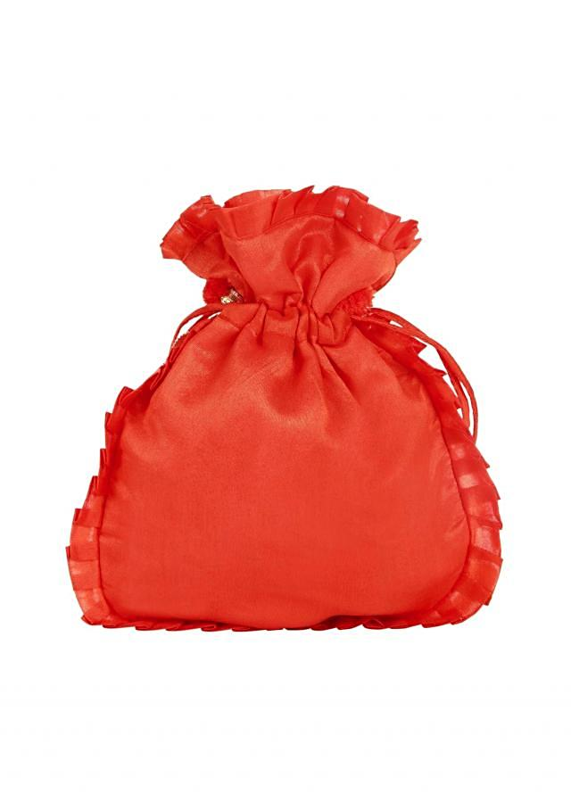 Orange gotta patch Embroidered Potli Bag only on Kalki