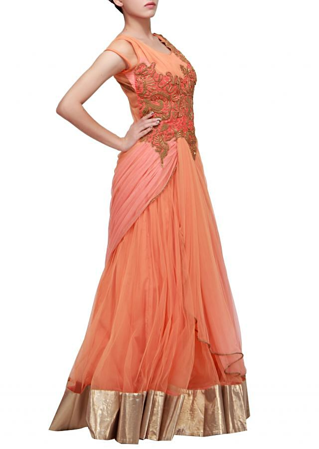 Orange gown enhanced with embroidered bodice only on Kalki by Ruchi Roongta