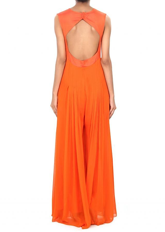 Orange jumpsuit enhanced in thread and zari embroidery only on Kalki