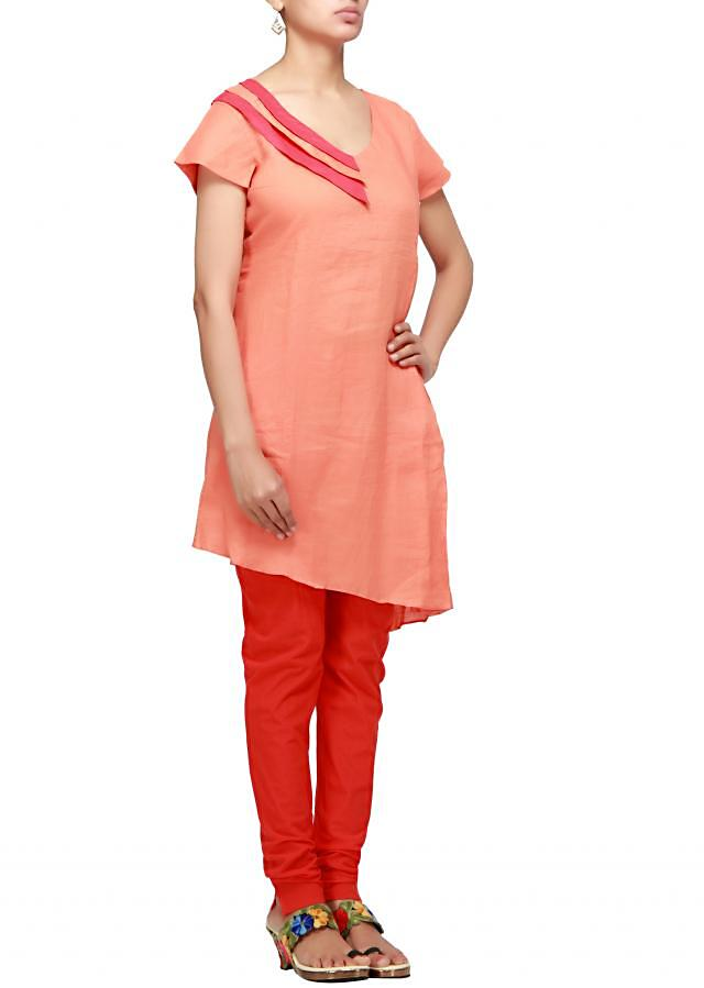 Orange kurta with knife pleats