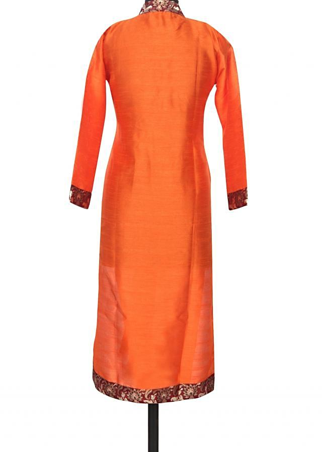 Orange kurti featuring with brocade placket only on Kalki