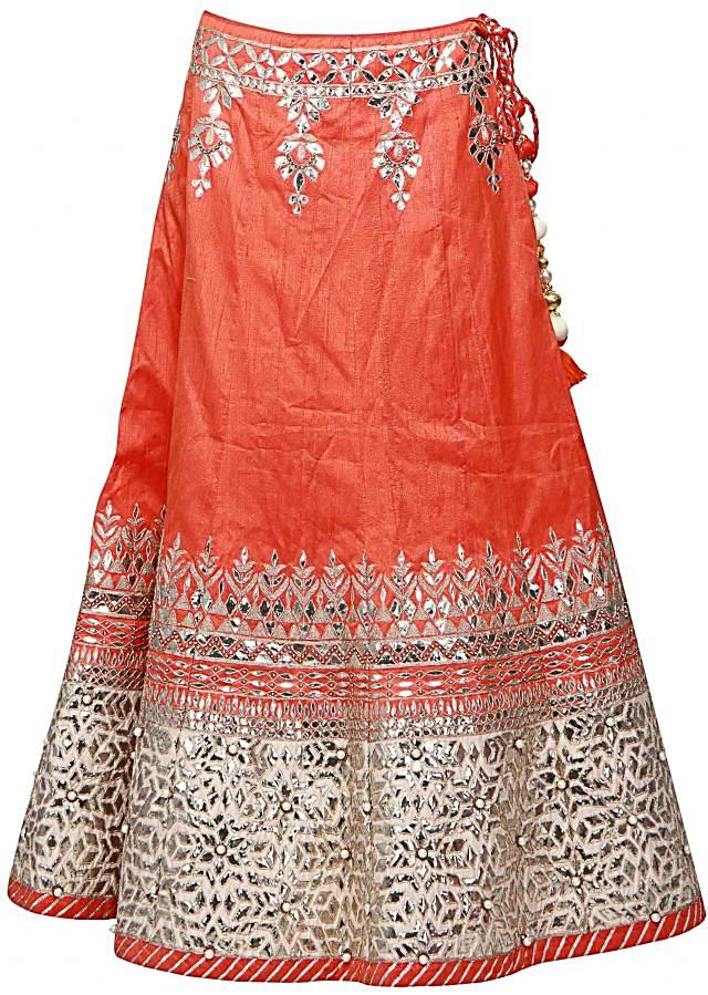 Orange lehenga adorn in applique embroidery only on Kalki