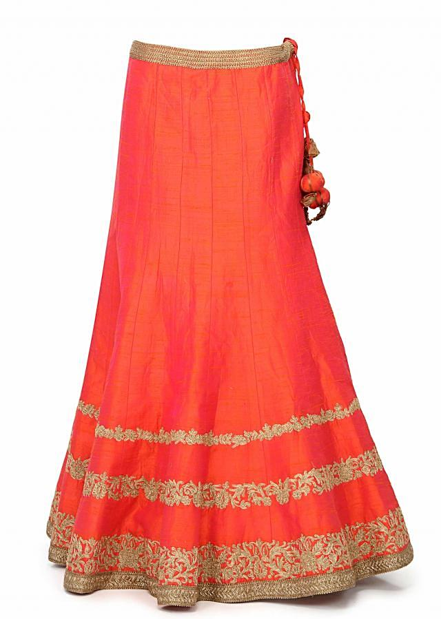 Orange lehenga embellished in zari embroidery only on Kalki
