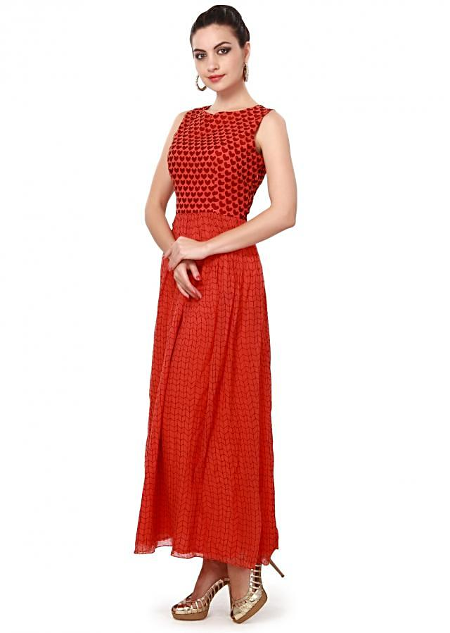 Orange long kurti featuring in heart ad checks print only on Kalki