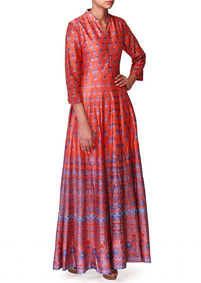 Orange long maxi dress in floral print only on Kalki