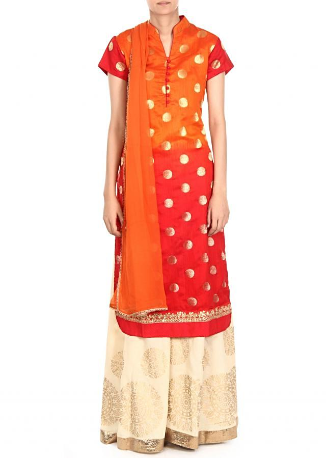 Orange and red straight palazzo suit in gota lace only on Kalki