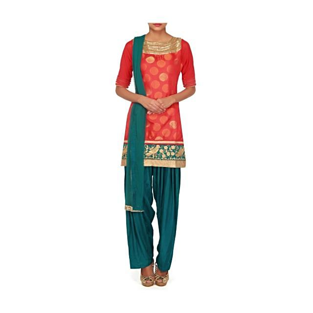 Pink salwar kameez with kardana and thread embroidery only on Kalki