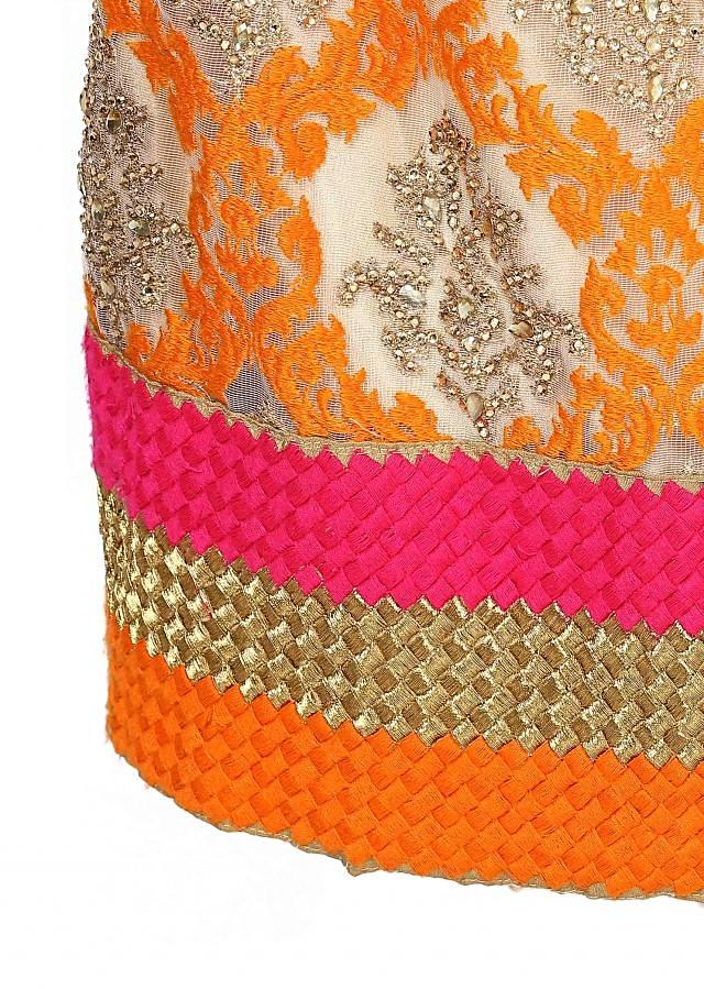 Orange straight fit suit embellished in thread
