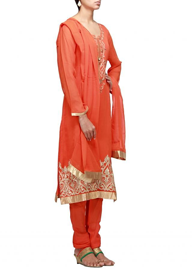 Orange straight fit suit embroidered in aari and gotta patti lace