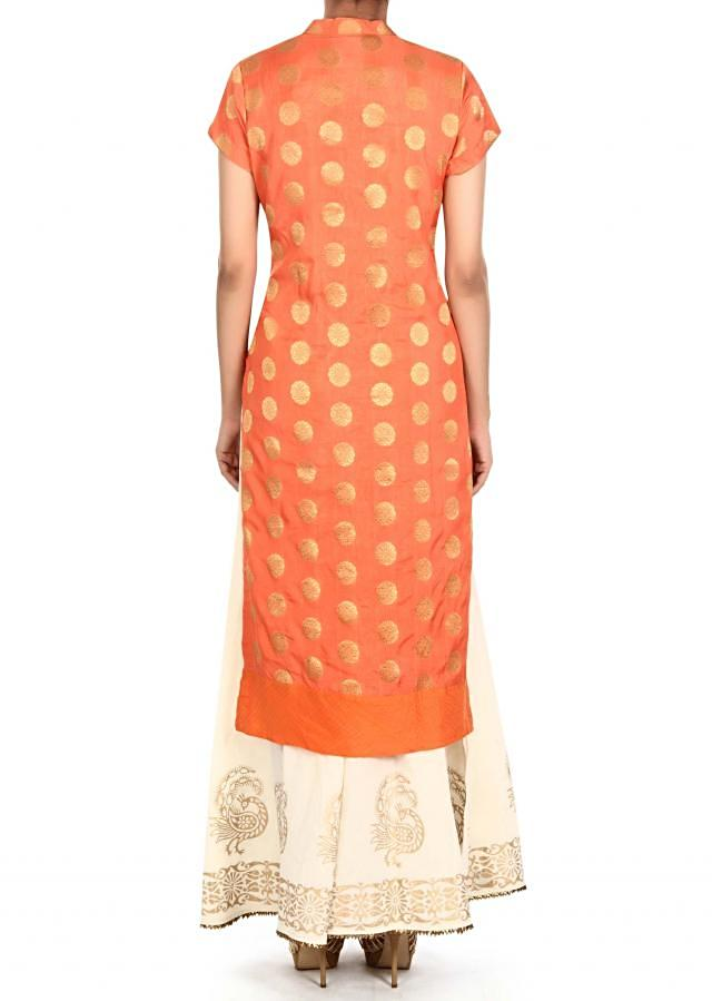 Orange straight palazzo suit in gota lace only on Kalki