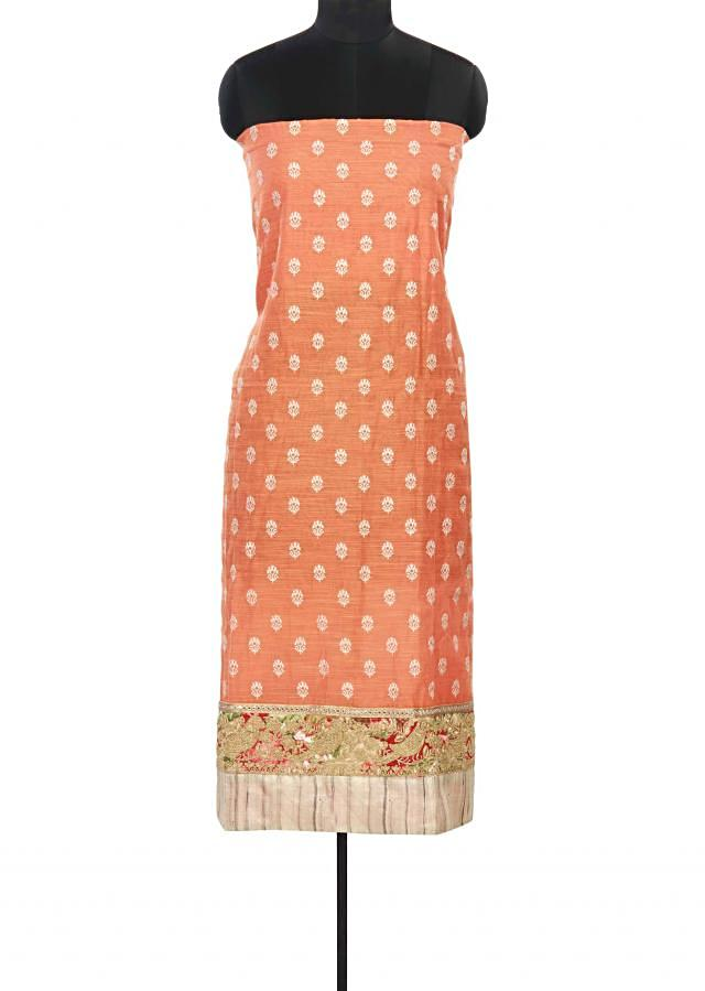 Orange unstitched suit adorn in thread and zari border only on Kalki