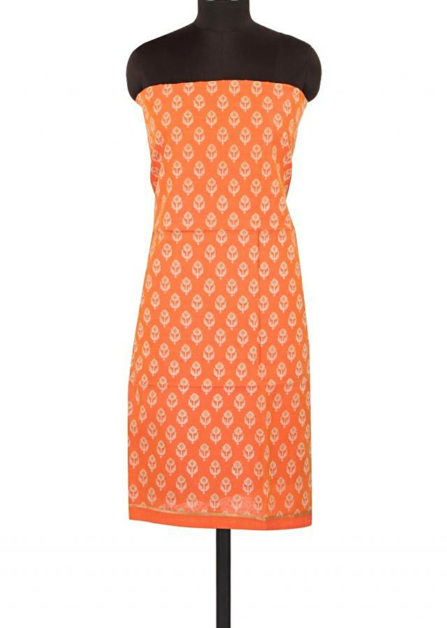 Orange unstitched suit adorn in thread embroidered butti only on Kalki