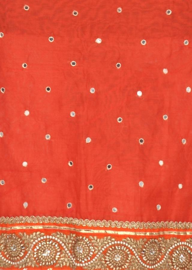 Orange unstitched suit enhanced in kundan and zari only on Kalki