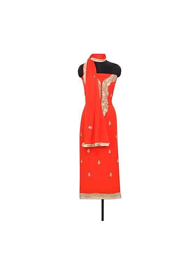 Orange unstitched suit featuring in mirror and gotta patch work only on Kalki