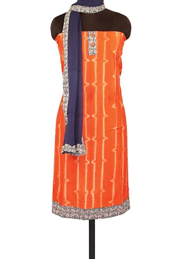 Orange unstitched suit with printed placket only on Kalki