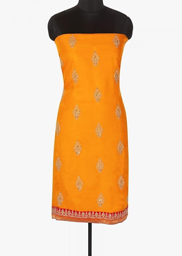 Orange unstitched top in embroidered butti with shaded dupatta only on Kalki