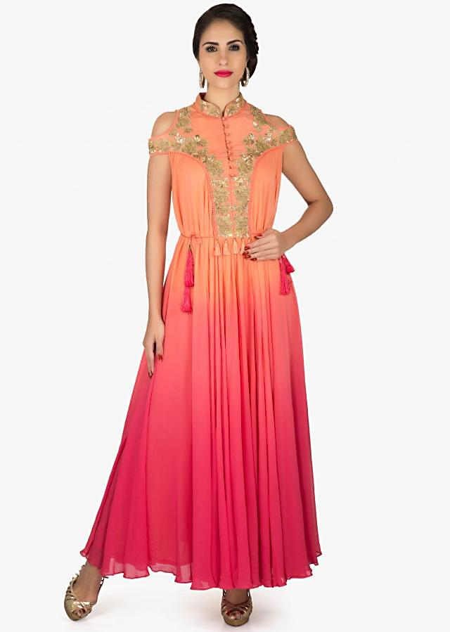 Orange and coral anarkali kurti in cold shoulder with embroidered collar and placket only on Kalki