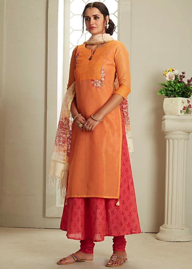 Orange and peach anarkali suit in resham and zari embroidered bodice only on Kalki