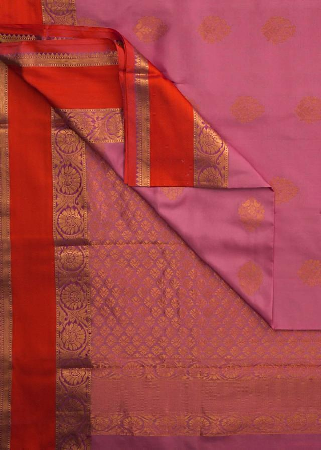 Orange and pink saree in silk beautified in weaved embroidery only on Kalki