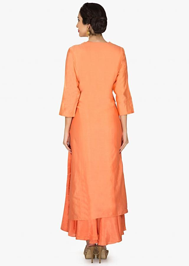 Orange long top with under layer embroidered in resham only on Kalki