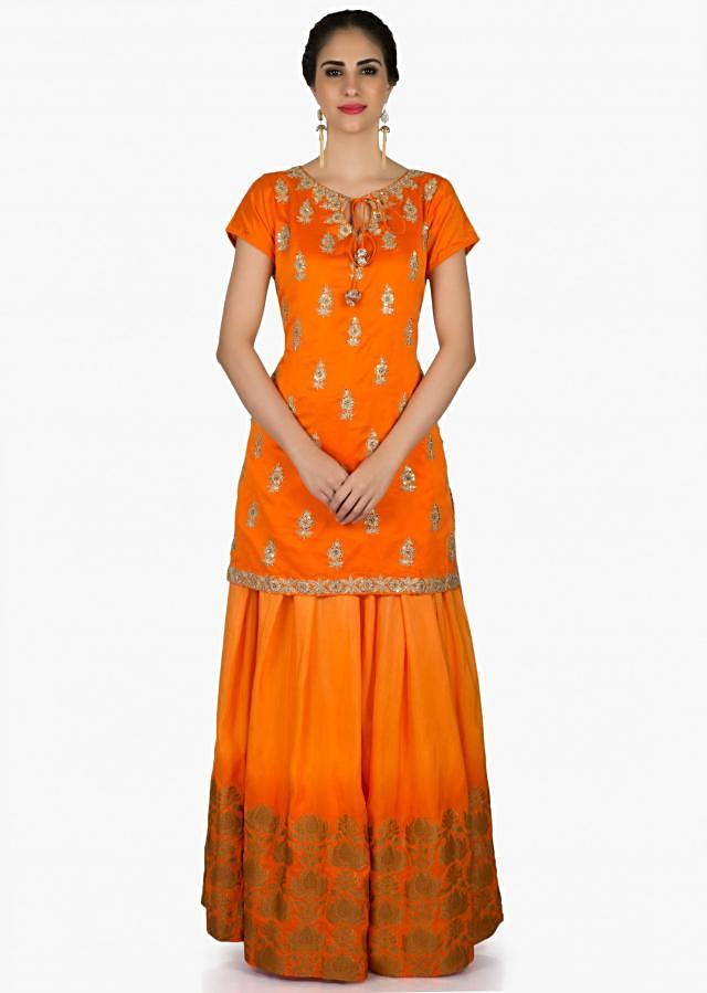 Orange palazzo suit adorn in sequin embroidered butti all over only on Kalki