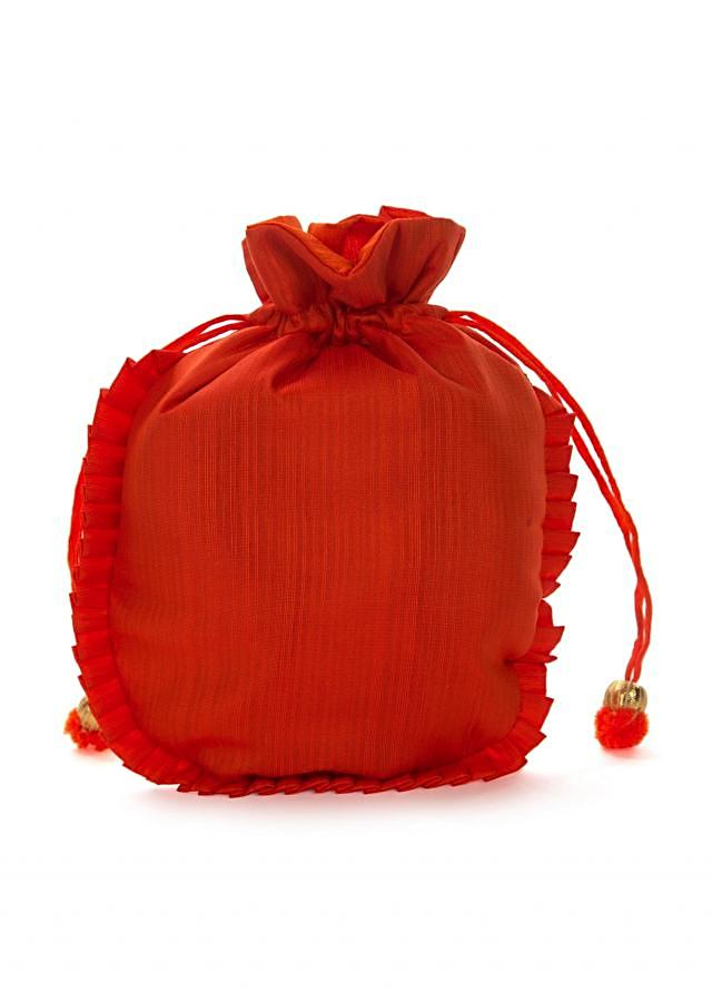 Orange potli bag beautified in gotta patti embroidered work only on Kalki