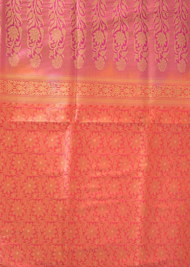 Orange saree in silk with contrast border only on Kalki
