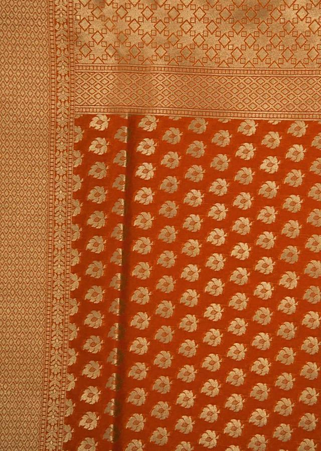 Orange saree in zari weave butti with brocade pallav only on Kalki