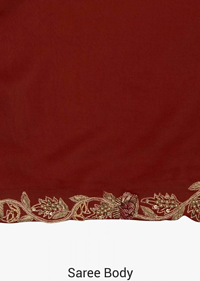 Orange saree with ready blouse in beige designed with zari and zardosi embroidery work only on Kalki