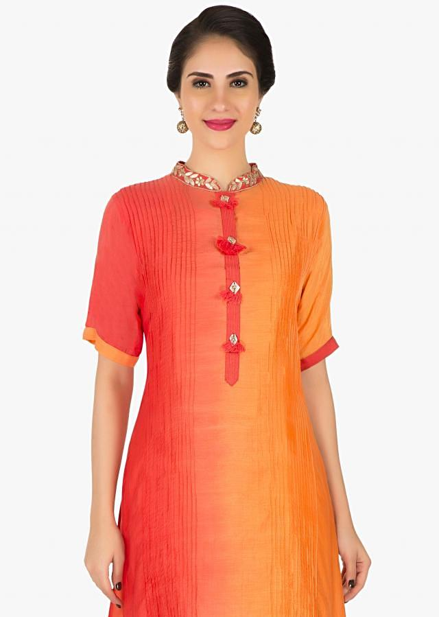 Orange tunic with jacket embellished in gota patch work only on Kalki