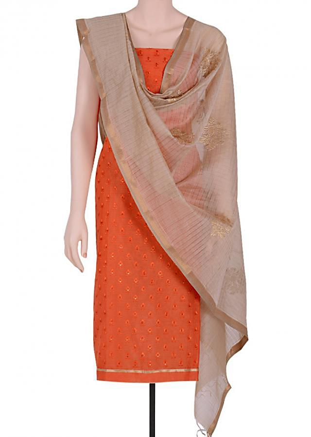 Look elegant orange suit.Matched contrasting &dupatta zari embroidery.The body is highlighted with resham pattern with sequin embellishments.