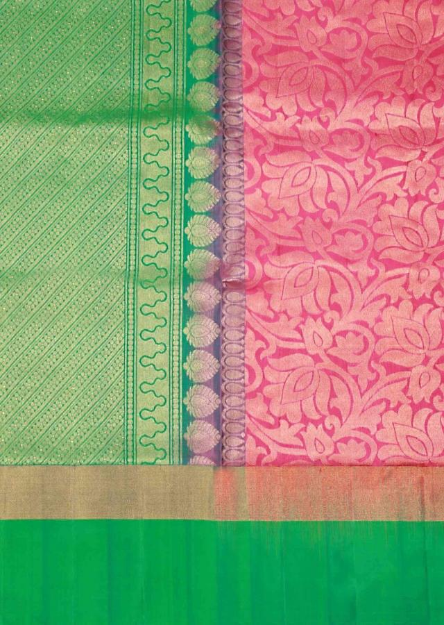 Orchid pink saree in lotus motif weave only on Kalki