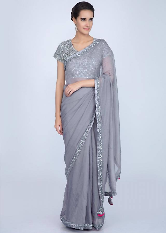 Grey Organza Saree With Sequins Embroidered Blouse Online - Kalki Fashion
