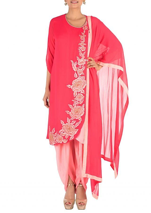 Overlaping Sweet Pink Suit Set With Dhoti Pants