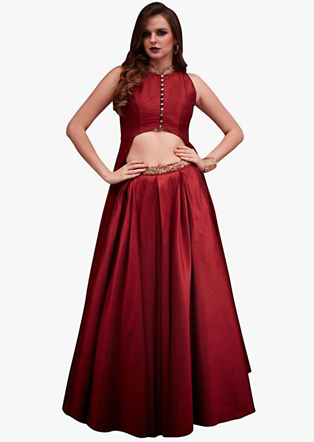 Ox red lehenga with jacket embellished in zari embroidery