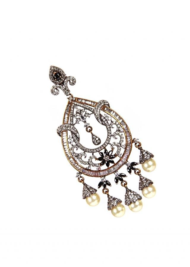 Oxidized Earring With Studded Diamond And Pearl Hanging only on Kalki